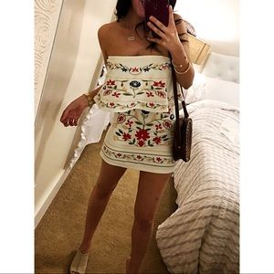 Cream Cocktail Embroidered Mexican strapless dress